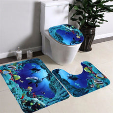 3pcs/set Ocean Toilet Carpet