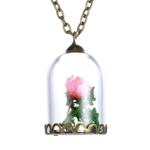 Dried Flower Cage shape Glass Necklace