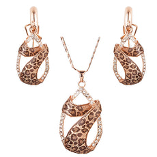 Leopard Necklace & Earrings Set