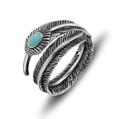 Free Turquoise Feather Ring