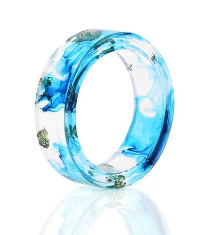 Metallic Flakes in Clear Resin Ring
