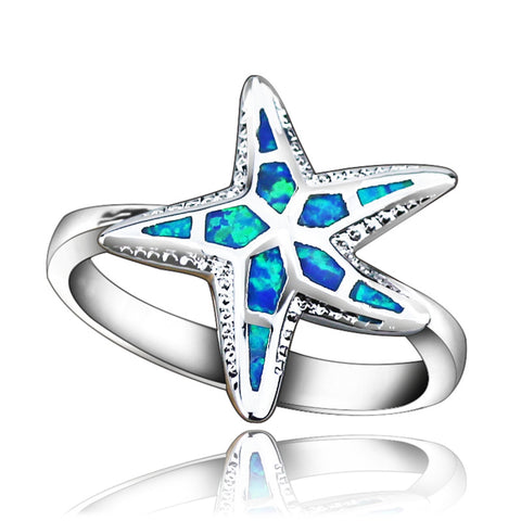Blue Fire Opal Starfish Ring