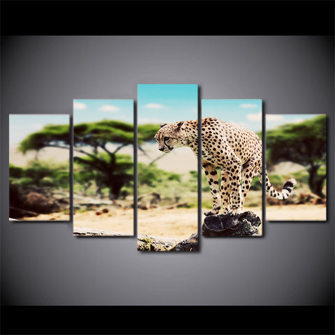 5 Panel Cheetah Wall Canvas