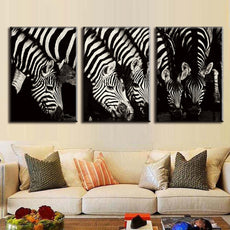 3 Pieces Zebras Wall Canvas