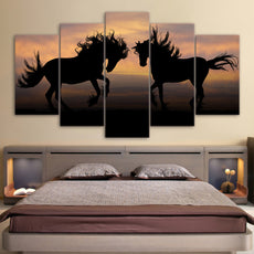 5 Panels Galloping Black Horses Wall Canvas