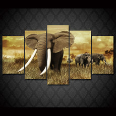 5 Panel Mighty Elephant Wall Canvas