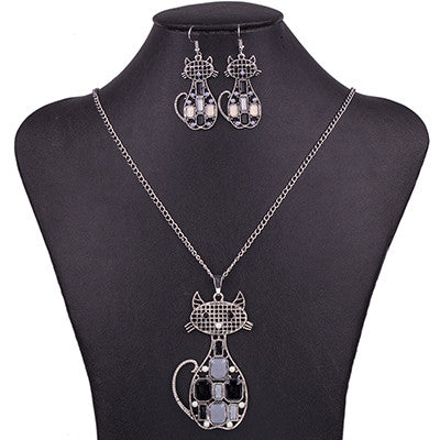 Wholesale Black Cat Necklace And Earrings Set (12x Pack)