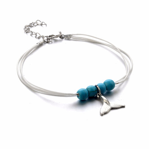 Whale Tail and Beads Anklet