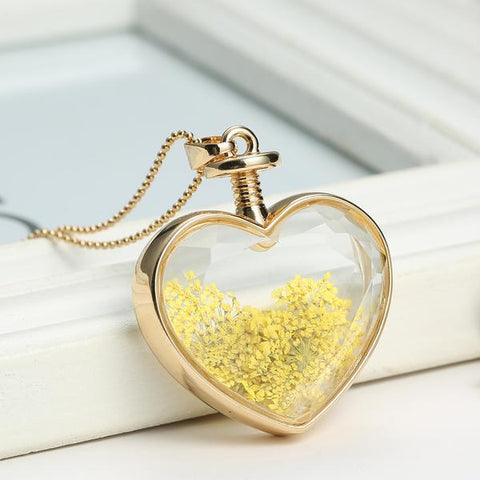 Dried Flowers Gold Heart Necklace