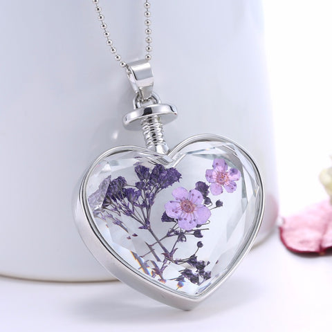 Dried Purple Flower Silver Heart Necklace