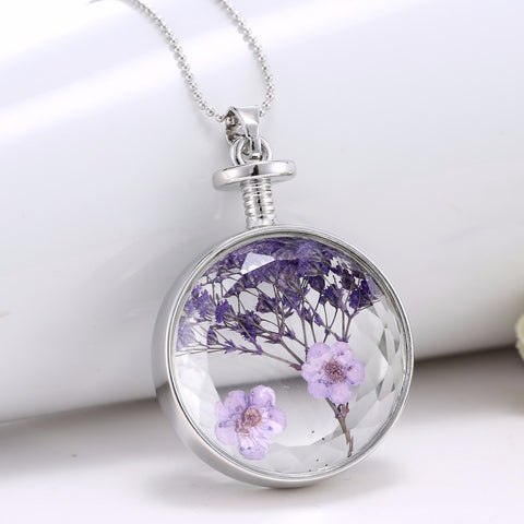 Purple dried Flowers Necklace