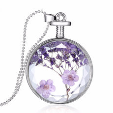 Dried Purple Flowers Necklace
