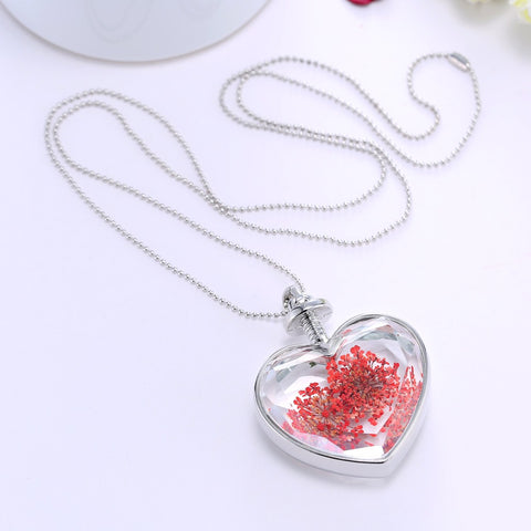 Silver Red Dried Flower Heart Necklace