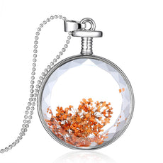 Dried Orange Flowers Round Necklace