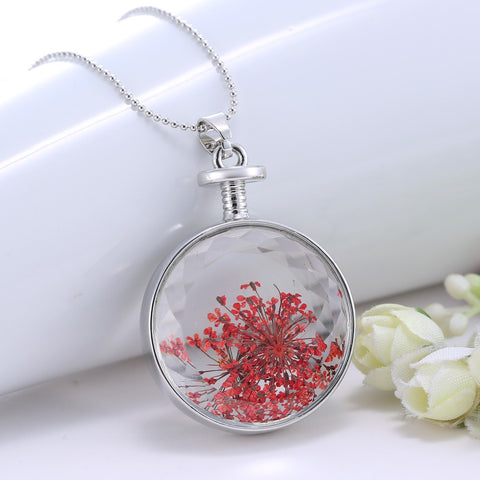 Dried Red Orange Flower Necklace