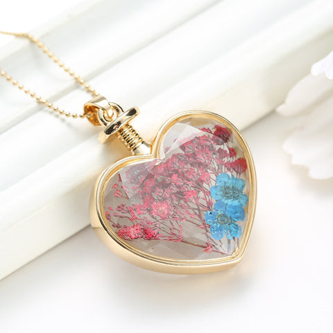 Dried Blue and Red Flowers Gold Heart Necklace
