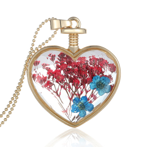 Dried Flowers  Blue and Red Gold Heart Necklace