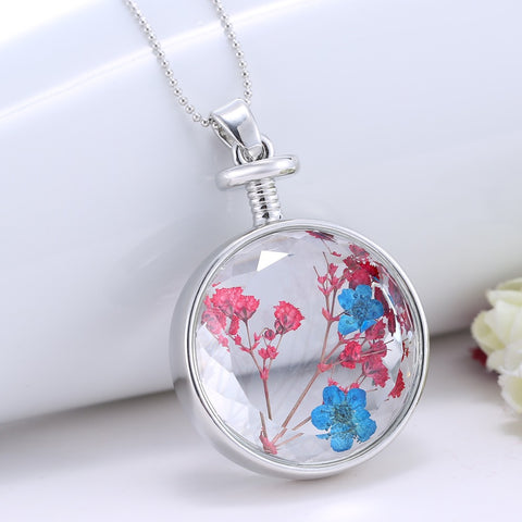 Dried Blue and Red Flower Silver Round Necklace
