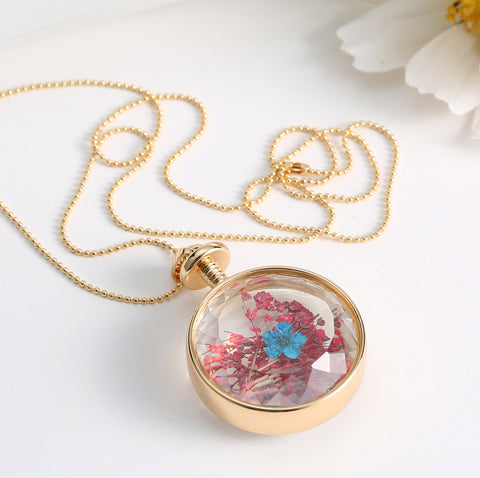 Dried Blue and Red Flower Gold Necklace