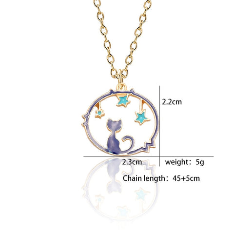 Cat in the night necklace