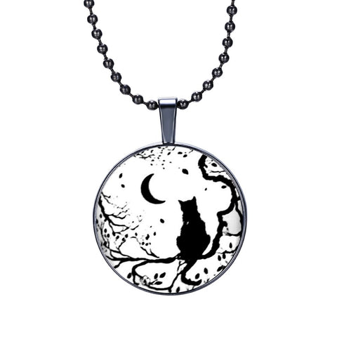 Cat&Moon Round Cameo - Necklace