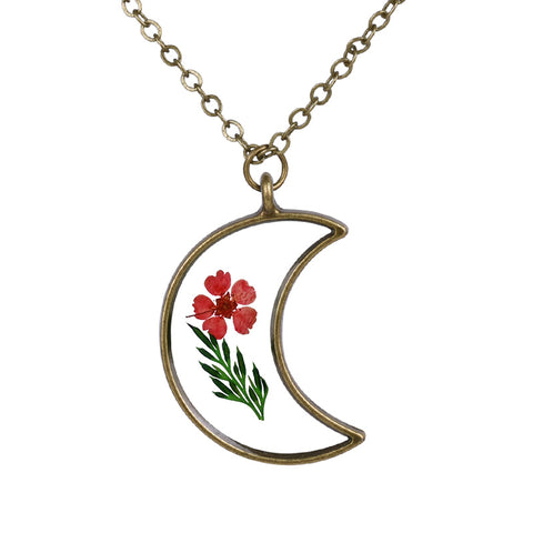 Moon Shaped Flower Necklace
