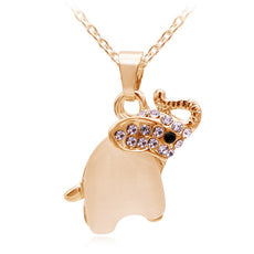 Free Cute Opal Elephant Necklace