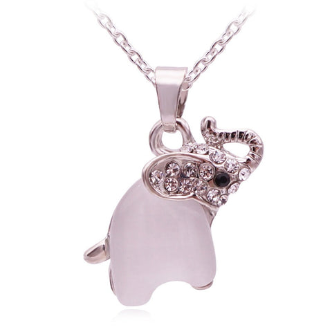 Cute Opal Elephant Necklace