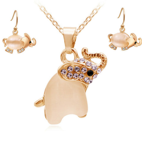 Cute Opal Elephant Necklace and Earrings Set