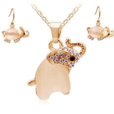 Cute Opal Elephant Necklace and Earrings Set (2 Color Styles)