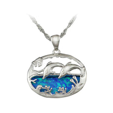 Opal Ocean Dolphin Necklace