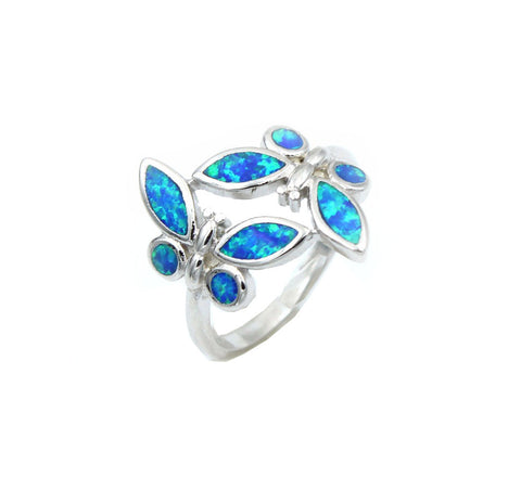 Opal Blue Butterfly Ring