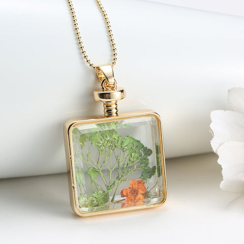 Dried Orange and Green Flowers Gold Square Necklace