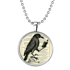 Raven Round Cameo - Necklace