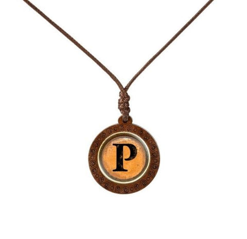 Yellow Letter Wood Necklace