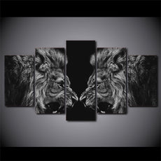 5 Panel Roaring Lions Wall Canvas