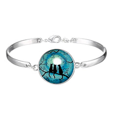 Three Cats Glow in the Dark Round Cameo - Bracelet
