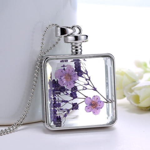Dried Purple Flowers Silver Square Necklace
