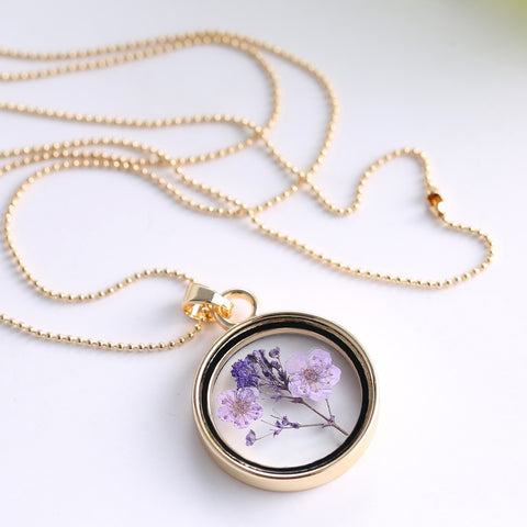 Dried Flowers Purple Gold Necklace