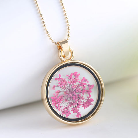 Dried Pink Flowers Gold Round Necklace