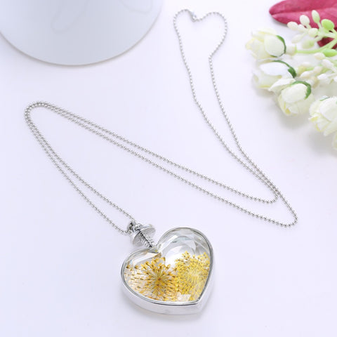 Dried Flowers Yellow Silver Heart Necklace
