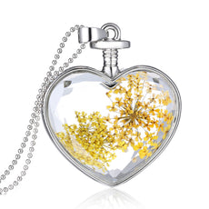 Dried Yellow Flowers Silver Heart Necklace