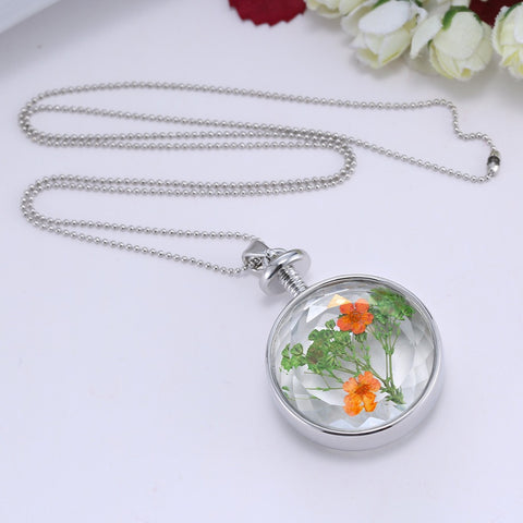 Dried Orange and Green Flowers Silver Necklace
