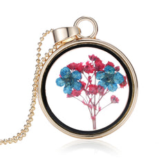 Dried Blue and Red Flower Gold Round Necklace