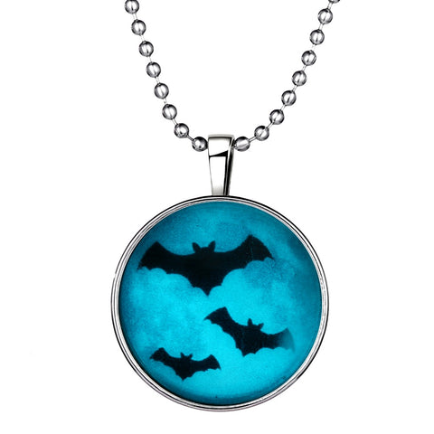 Flying Bats Glow in the Dark Round Cameo - Necklace
