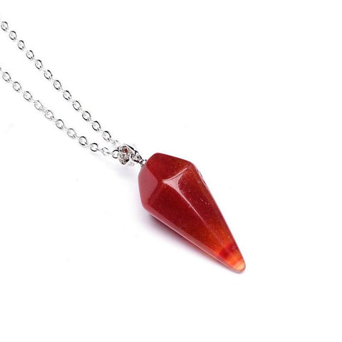 Hexagonal Red Stone Necklace