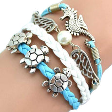 Sea Turtle & Sea Horse & Wing Fashion Vintage Bracelet