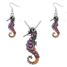 Wholesale Seahorse Necklace and Earrings Set (12x Pack)