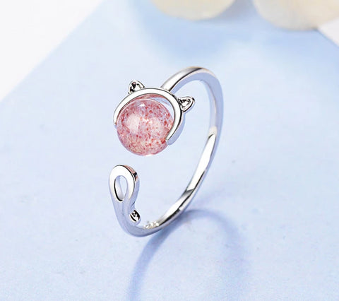 Pink Crystal Cat Ring