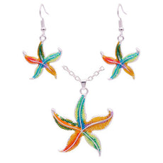 Wholesale Enamel Starfish Necklace And Earrings Set (12x Pack)